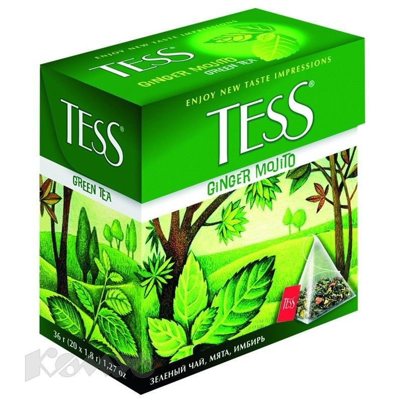 Чай Tess Ginger Mojito 20шт в пирамидках зеленый с ароматом мохито