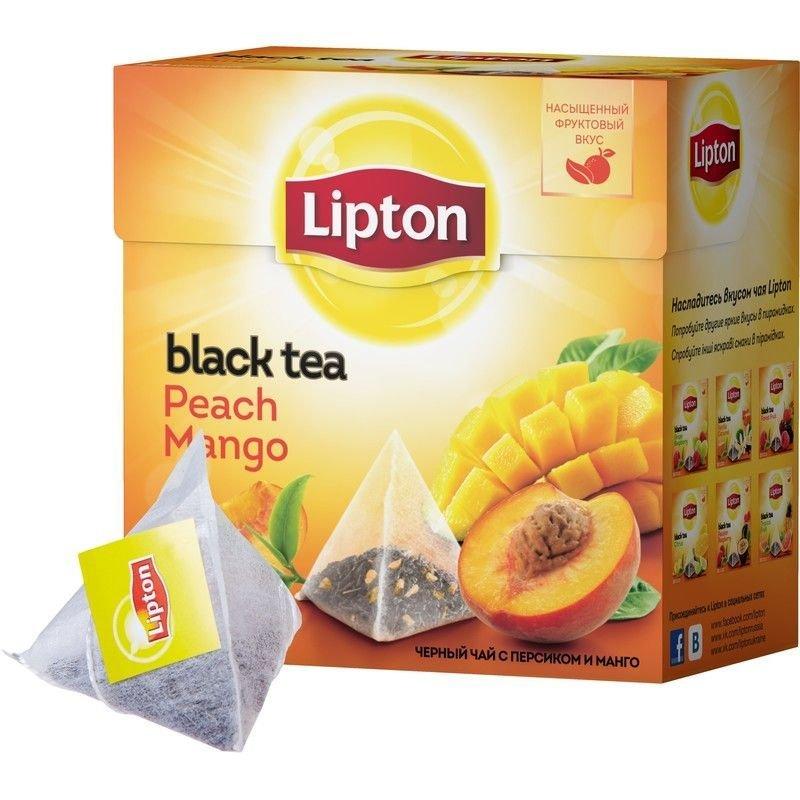 Чай Lipton Peach Mango 20шт в пирамидках с персиком и манго черный