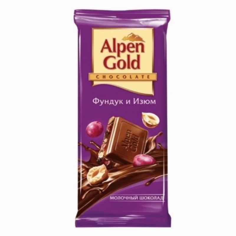 Шоколад Alpen Gold молочный фундук изюм 90г