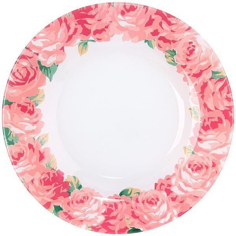 Тарелка 260мм Пионы обеденная Pasabahce стекло