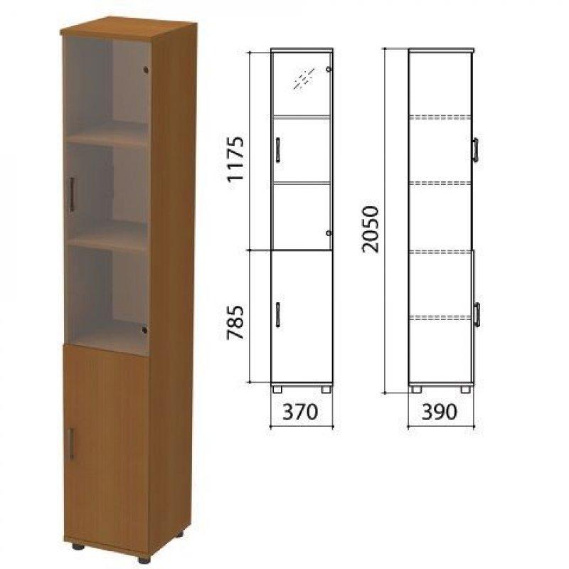 Шкаф закрытый Монолит 370×390×2050мм со стеклом комплект орех гварнери