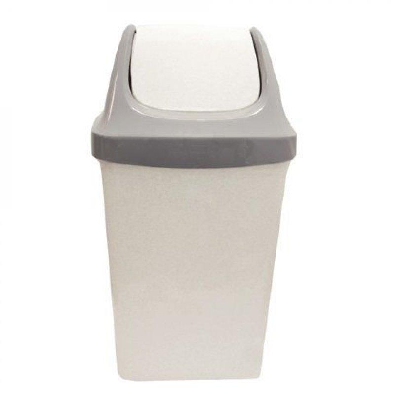 Контейнер для мусора 25л пластик Idea качающаяся крышка серый мрамор