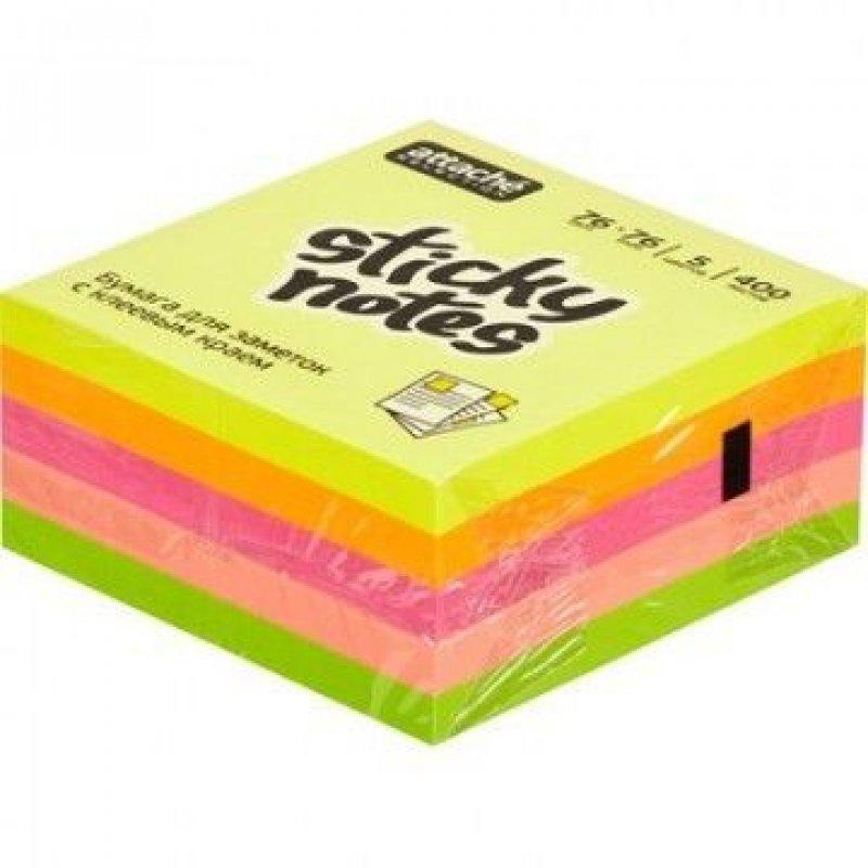 Блок для записей самоклеящийся 76х76мм Attache Selection 400л неон 5 цветов