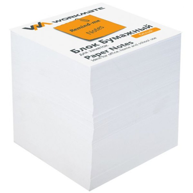 Блок для записей 90х90х90мм Workmate типографская бумага запасной проклеенный