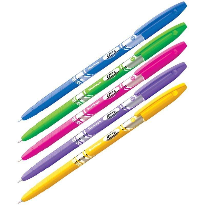 Ручка шариковая Berlingo Blitz 0,7мм тонированный корпус игольчатый наконечник синяя