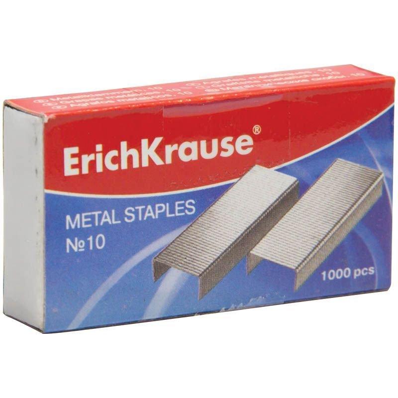 Скобы для степлера №10 Erich Krause 1000шт/уп никелированные