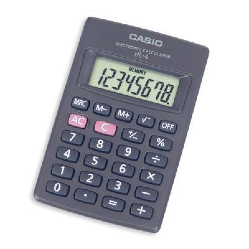 Калькулятор Casio HL-4А 56х87мм 8 разр серый