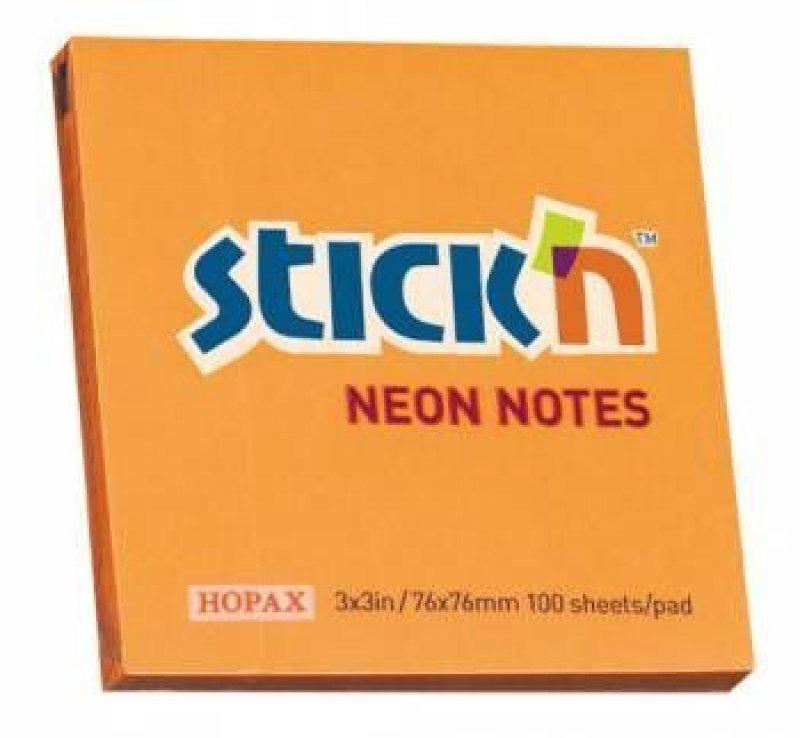 Блок для записей самоклеящийся 76х76мм Hopax 100л неон оранжевый