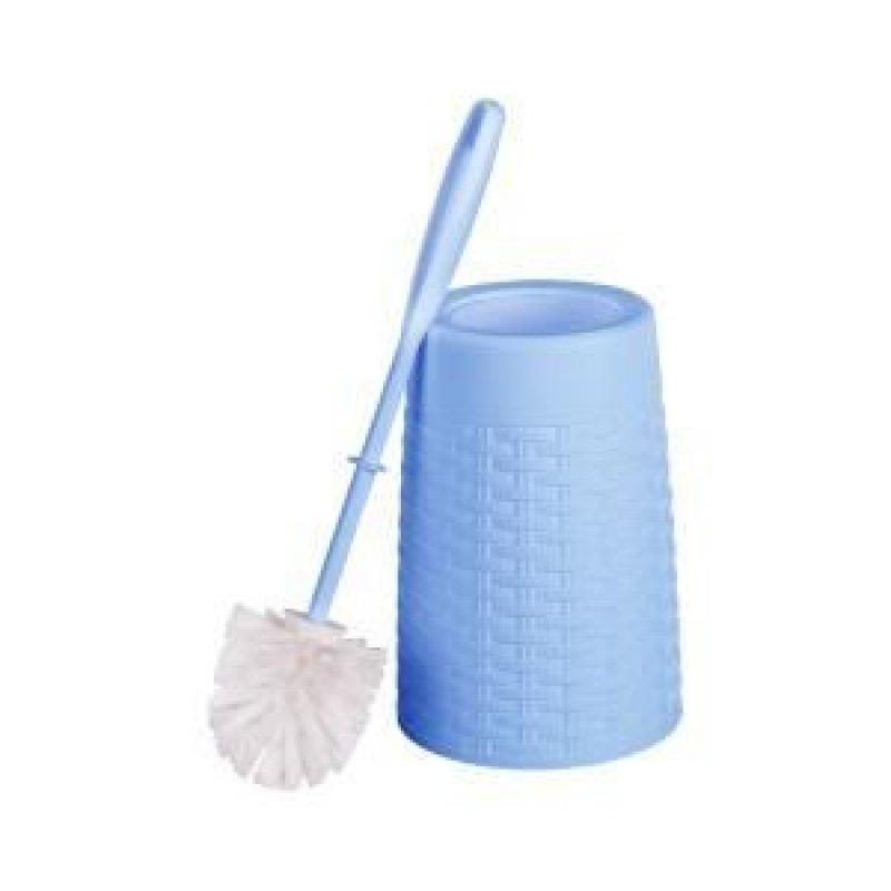Ерш для унитаза пластик с подставкой Плетенка голубой