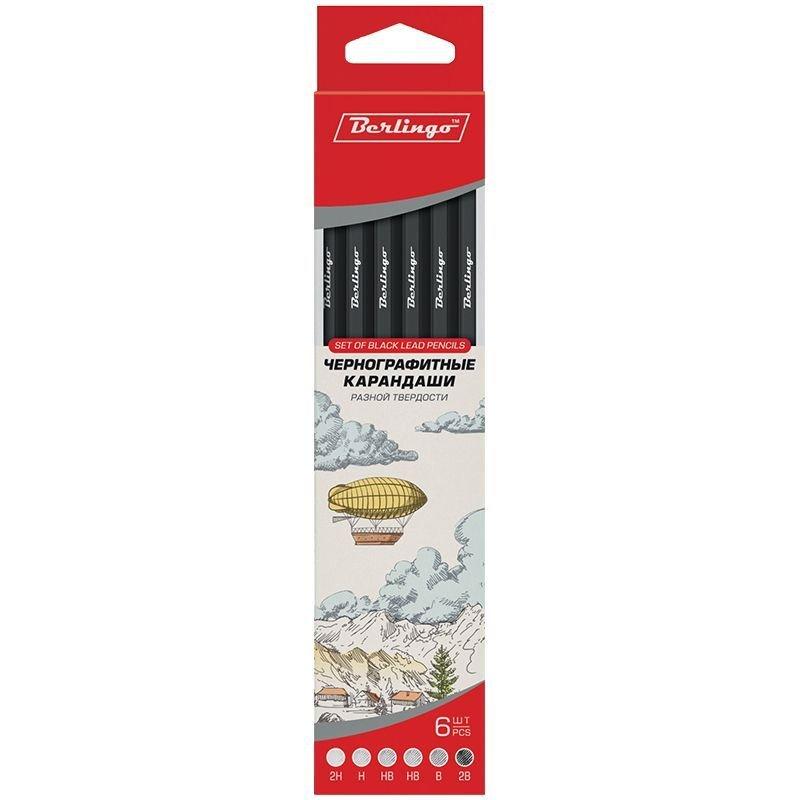 Набор карандашей 6шт Berlingo корпус шестигранный деревянный европодвес