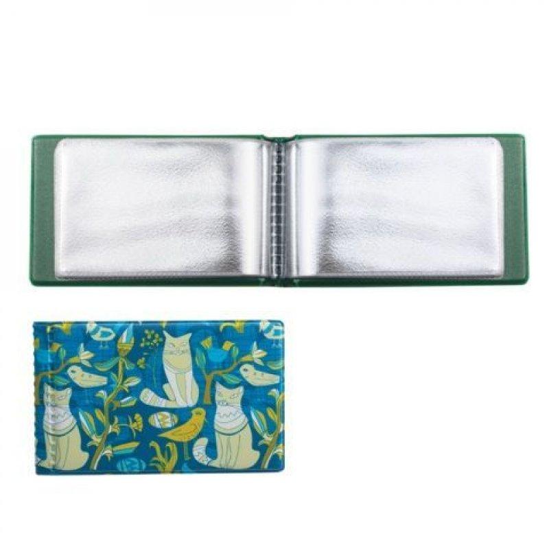 Визитница карманная 28 карточек 1 рядная кожзам бирюза