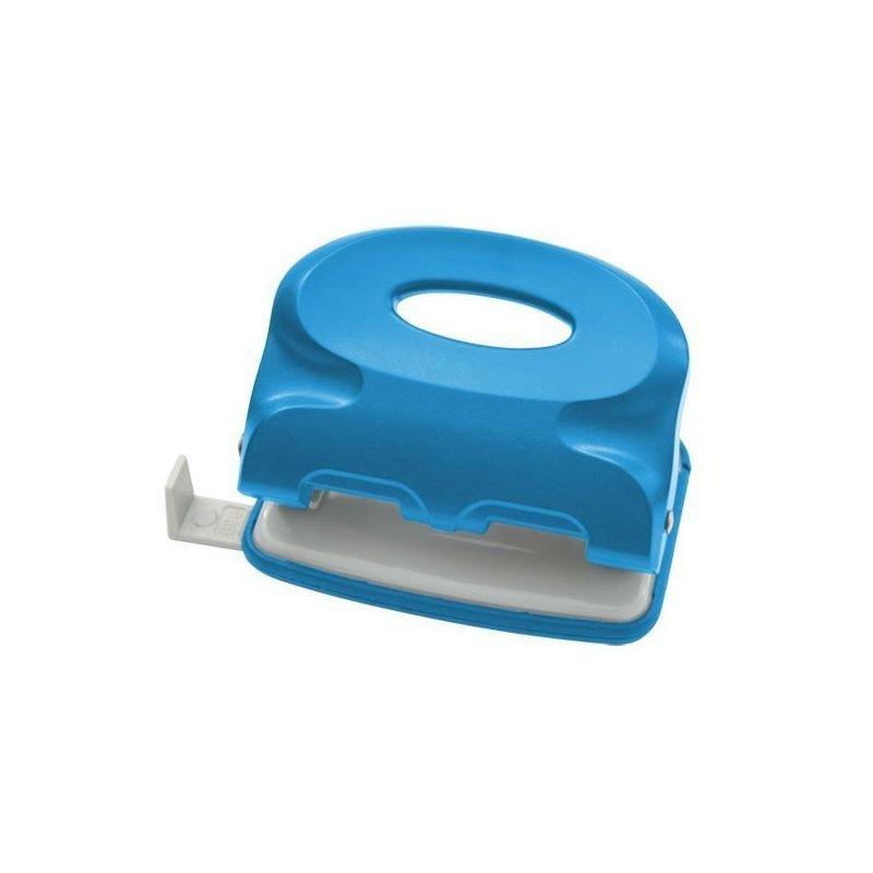 Дырокол 15л Index Colourplay пластиковый корпус неоновый голубой