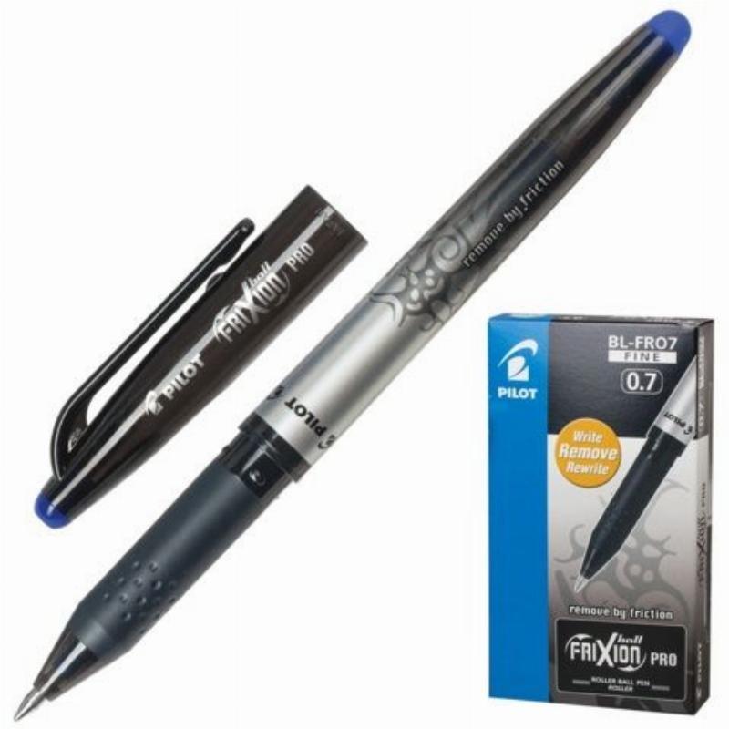 Ручка стираемая гелевая Pilot Frixion Pro 0,7мм резиновый держатель черный корпус синяя