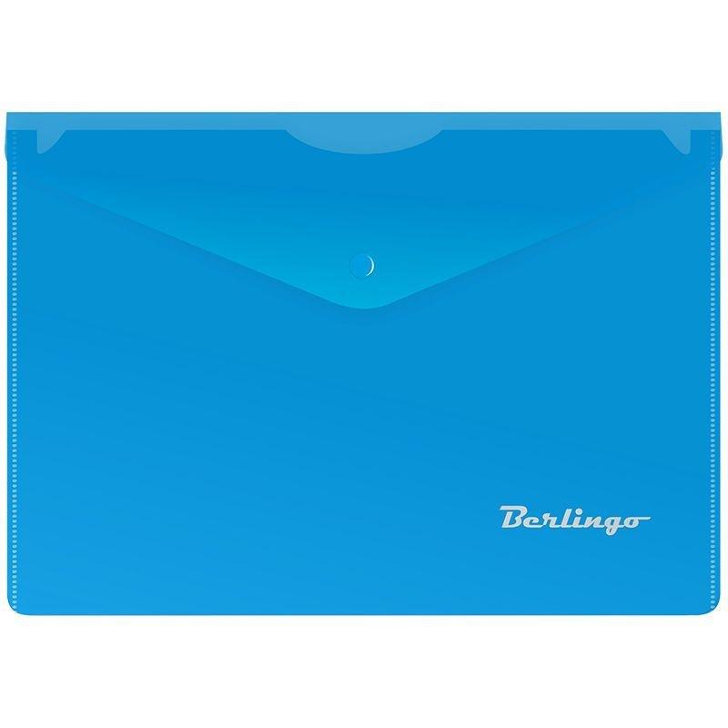 Папка-конверт с кнопкой А5 Berlingo 0,18мм синяя