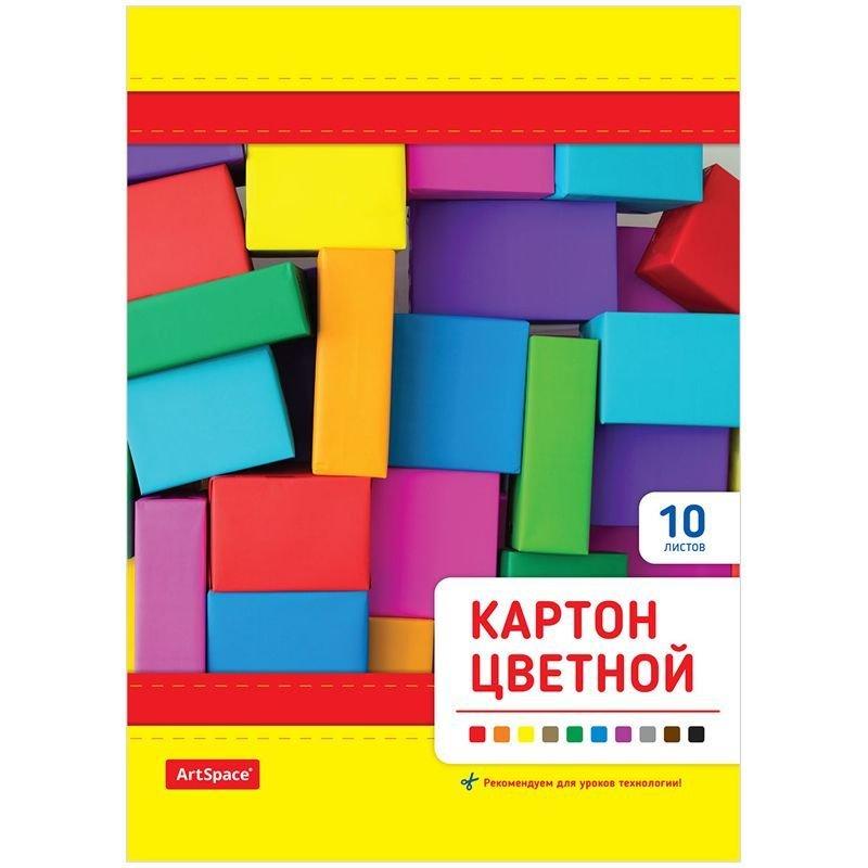 Картон цветной А4 10л/10цв Кубики