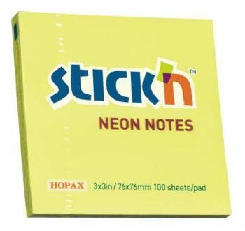 Блок для записей самоклеящийся 76х76мм Hopax 100л неон желтый