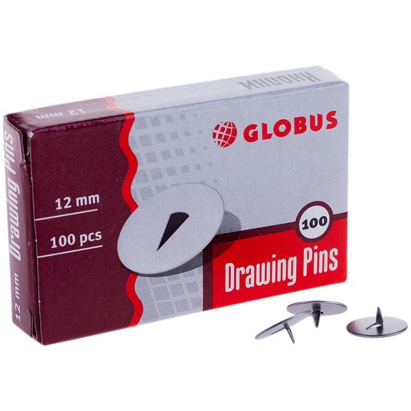 Кнопки канцелярские Globus 12мм 100шт/уп
