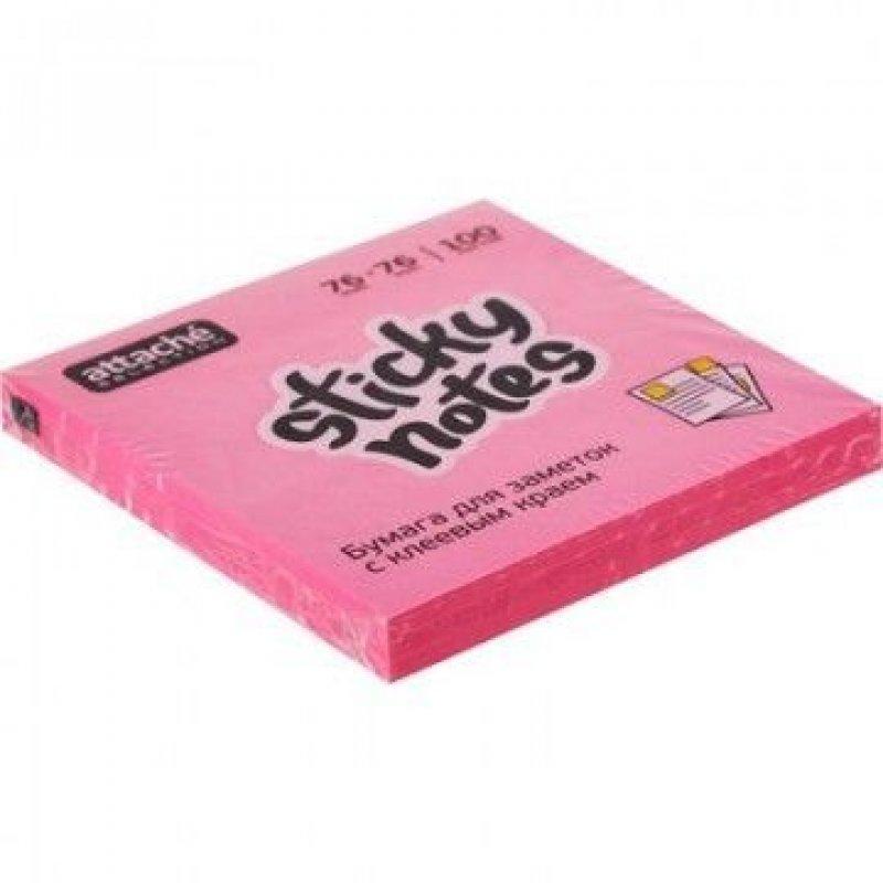 Блок для записей самоклеящийся 76х76мм Attache Selection 100л неон розовый