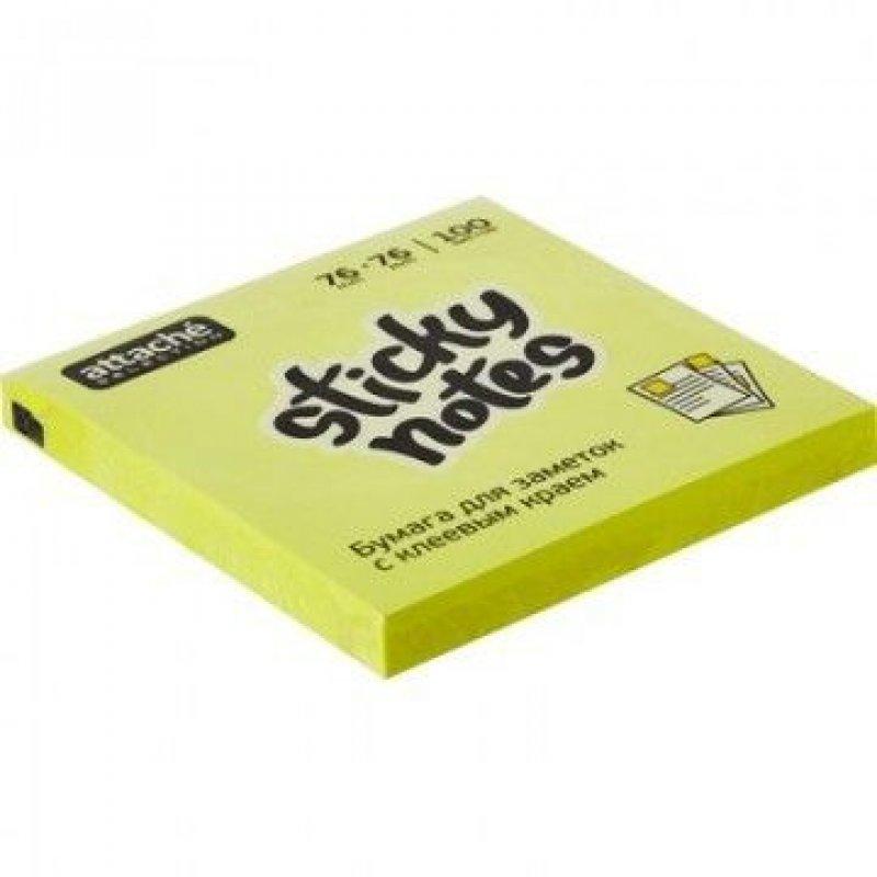 Блок для записей самоклеящийся 76х76мм Attache Selection 100л неон желтый