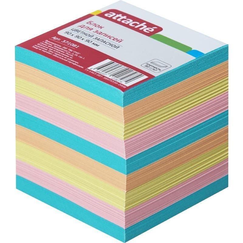 Блок для записей 90х90х90мм Attache цветной запасной 4 цвета
