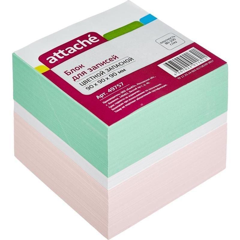 Блок для записей 90х90х90мм Attache цветной запасной