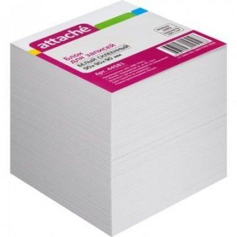 Блок для записей 90х90х90мм Attache белый запасной проклеенный
