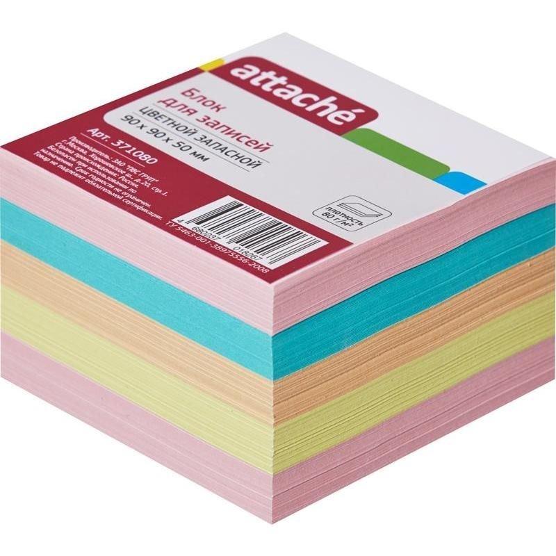Блок для записей 90х90х50мм Attache цветной запасной 5 цветов