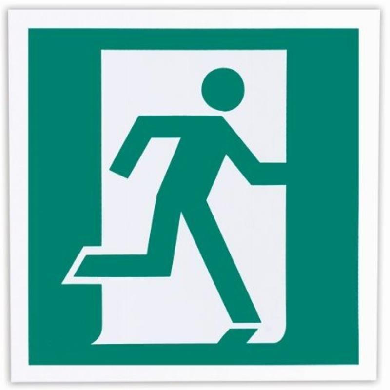 Знак эвакуационный Выход здесь (правосторонний) 200х200мм самоклейка