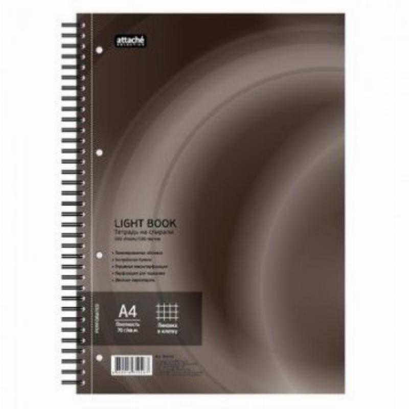 Тетрадь 100л А4 LightBook клетка гребень