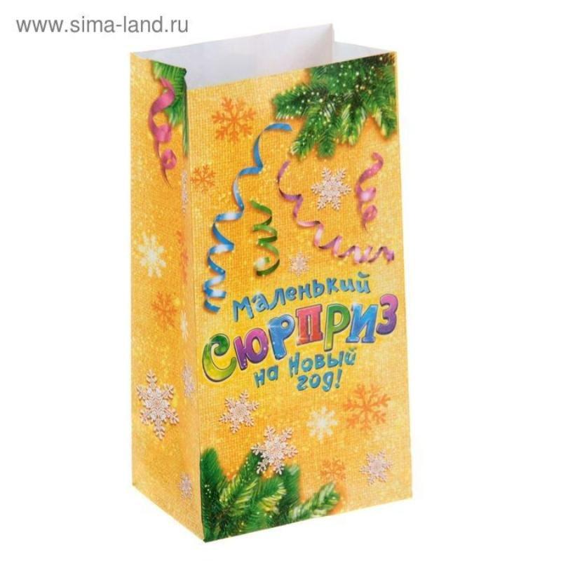 Пакет подарочный без ручек 10х7х9,5см Маленький сюрприз на Новый Год