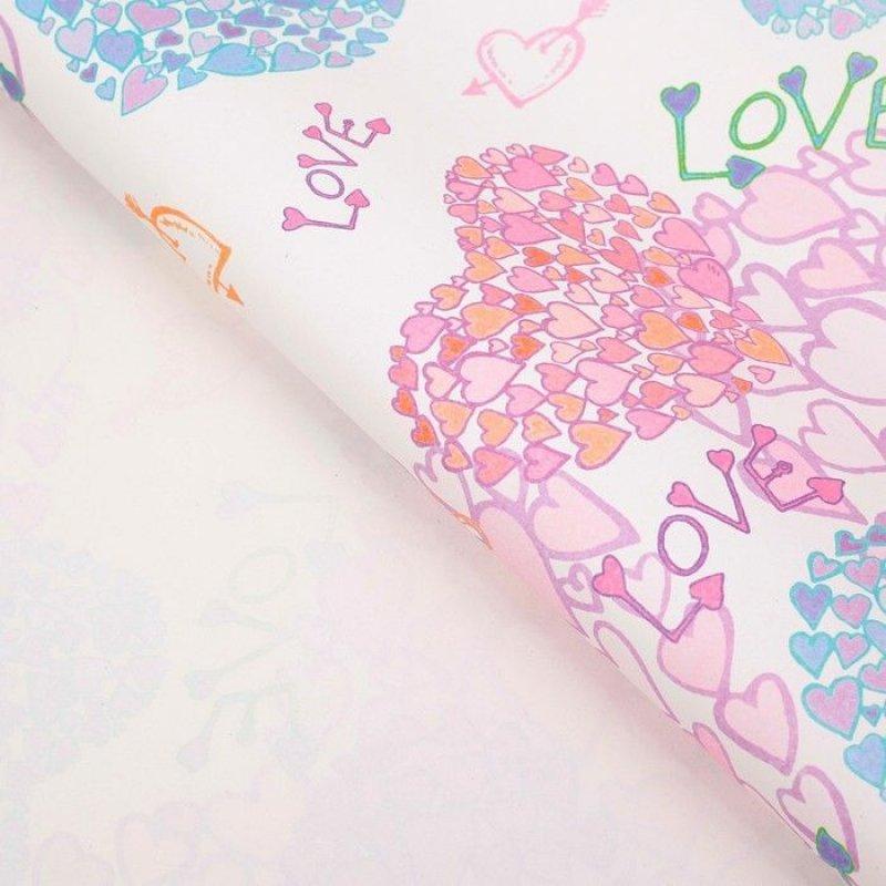 Бумага упаковочная 70х50см Розы с сердцами