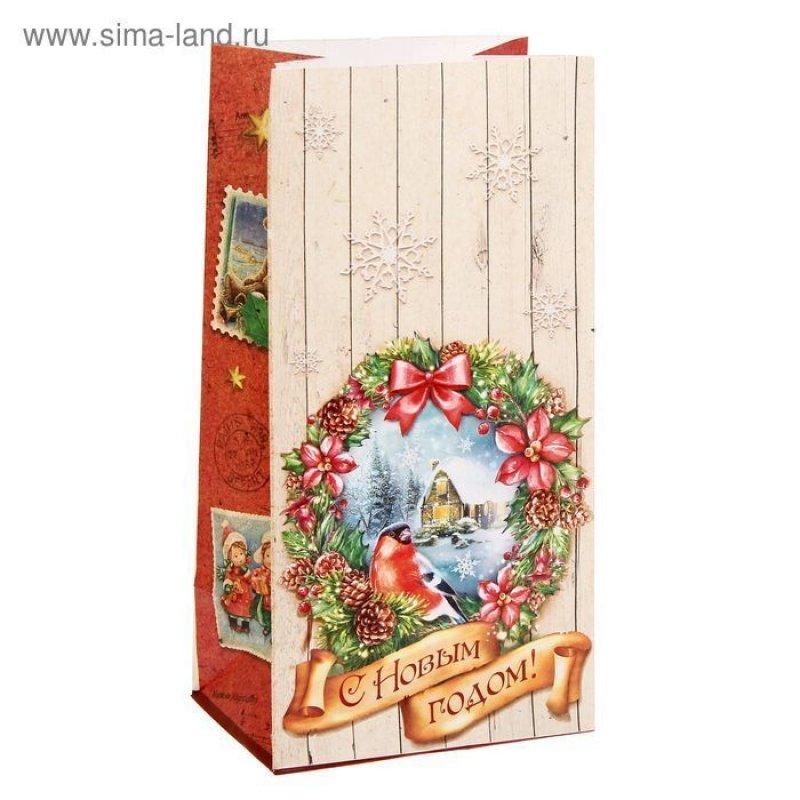 Пакет подарочный без ручек 10х19,5см Новогодний венок