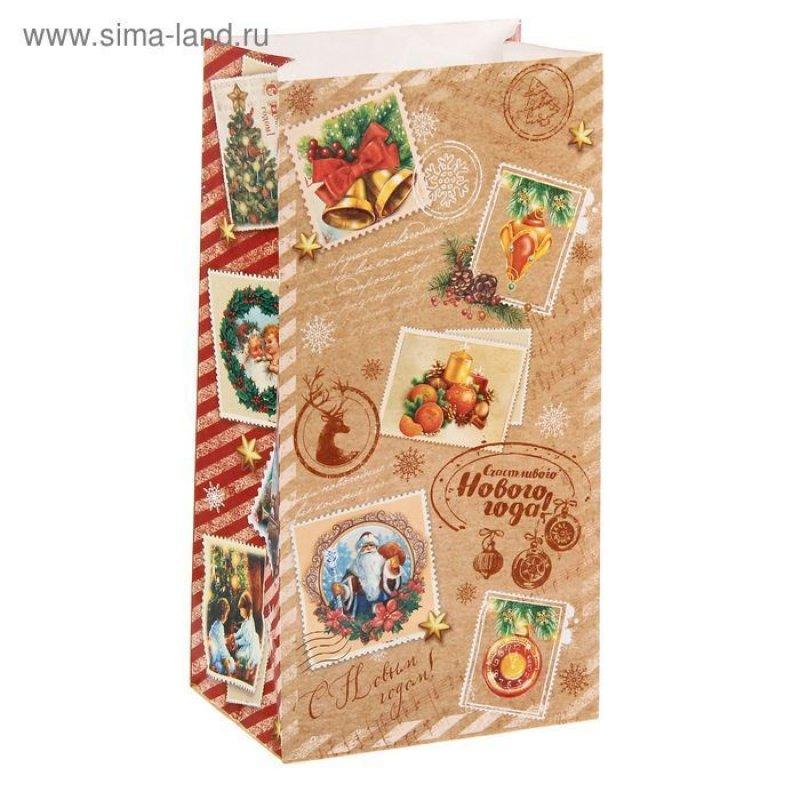 Пакет подарочный без ручек 10х19,5см Новогодние марки