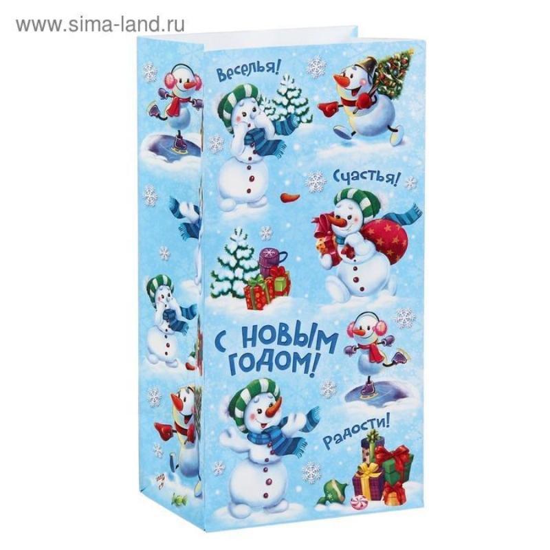 Пакет подарочный без ручек 10х19,5см Снеговички