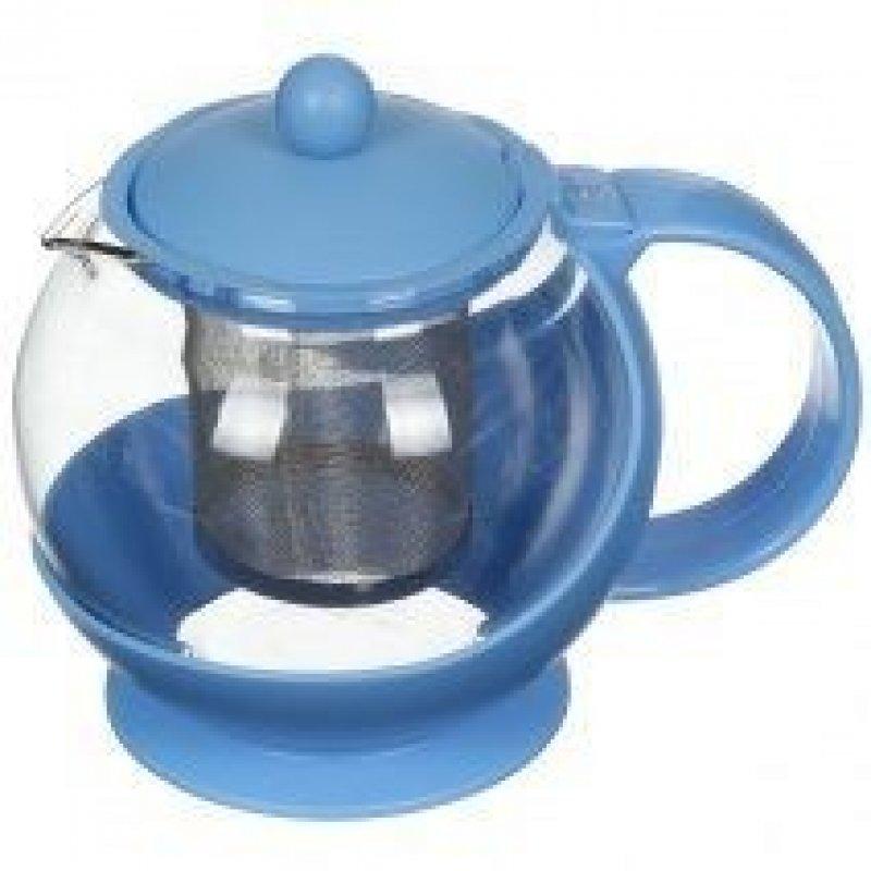 Чайник заварочный 750мл Голубой с ситечком стекло