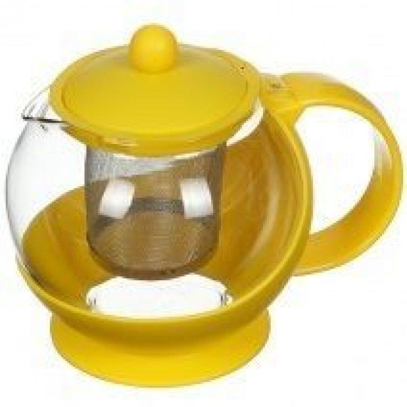 Чайник заварочный 750мл Желтый с ситечком стекло