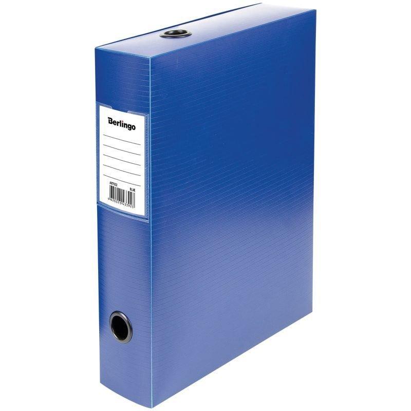 Короб архивный 70мм на кнопке 600л пластиковый 900мкм синий 330х245х70мм Berlingo