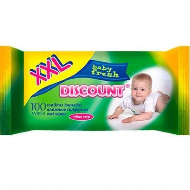 Салфетки влажные Discount премиум детские алоэ вера 100шт/уп