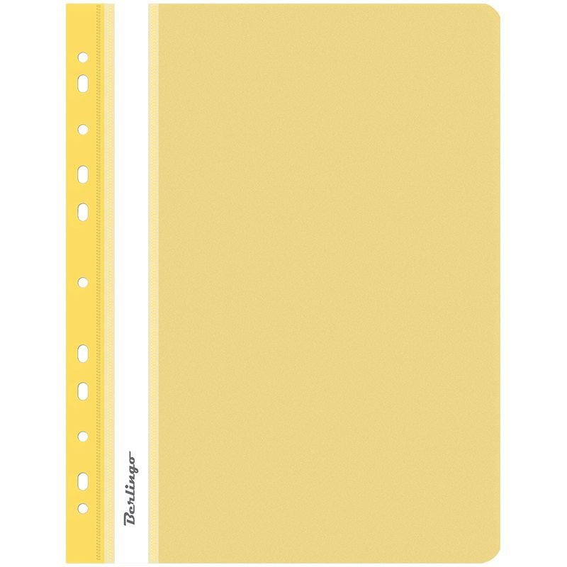 Папка с прозрачным верхним листом Berlingo с дополнительной перфорацией 180мкм желтая