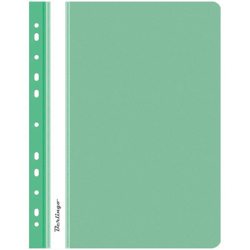 Папка с прозрачным верхним листом Berlingo с дополнительной перфорацией 180мкм зеленая