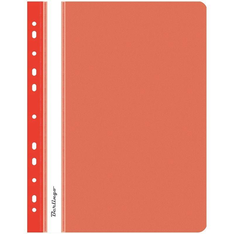 Папка с прозрачным верхним листом Berlingo с дополнительной перфорацией 180мкм красная