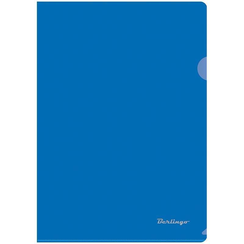 Папка-угол (карман) Berlingo 0,18мм прозрачная синяя