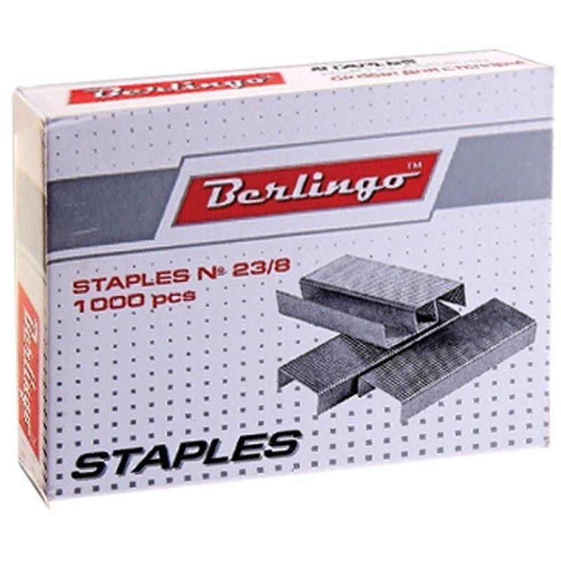 Скобы для степлера №23/8 Berlingo 1000шт/уп оцинкованные до 50 листов