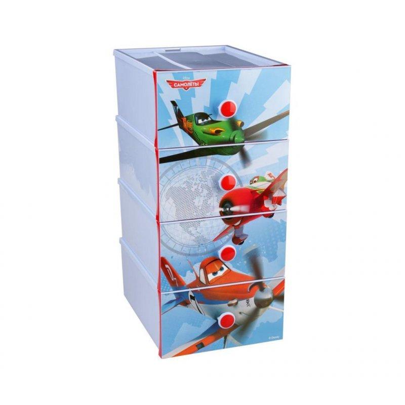 Комод детский Самолет Дисней 4 секции пластик