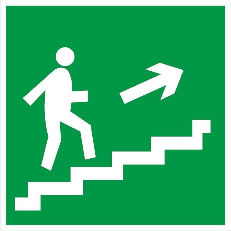 Знак эвакуационный Направление к эвакуационному выходу по лестнице Направо вверх 200х200мм самокейка