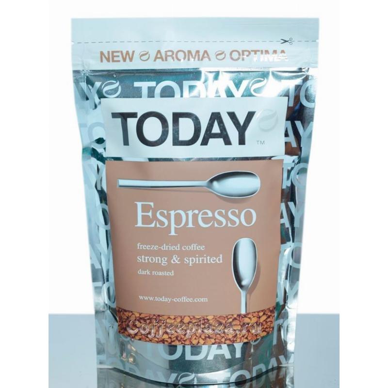 Кофе Today Espresso растворимый 75г вакуумная упаковка