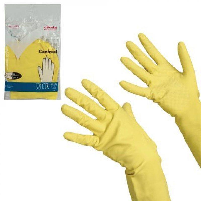 Перчатки хоз латексные с х/б напылением Vileda L желтые инд/уп
