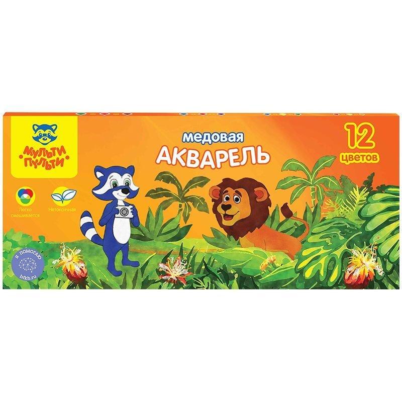 Краски акварельные 12цв Енот в джунглях б/кисти картон/уп