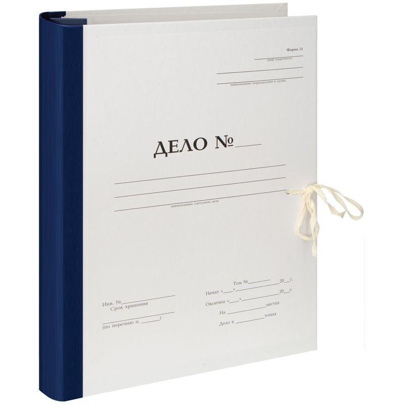 Папка архивная для переплета 70мм 900л 2 завязки бумвинил белая с гребешками