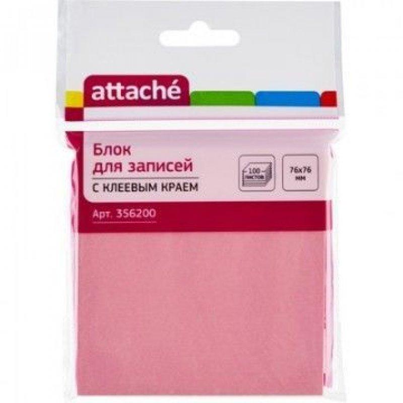 Блок для записей самоклеящийся 76х76мм Attache 100л пастель розовый